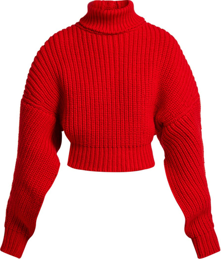 A.W.A.K.E Cropped button-back ribbed-knit wool sweater