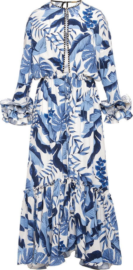 Johanna Ortiz M'O Exclusive Royal Navy Crepe De Chine Dress