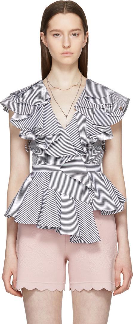 Alexander McQueen White & Black Striped Ruffled V-Neck Blouse