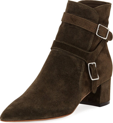 Gianvito Rossi Suede Pointed Buckle Bootie