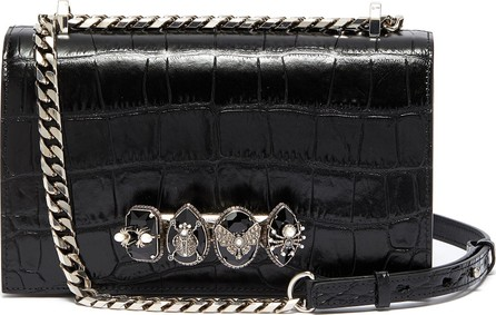 Alexander McQueen The Jewelled Satchel' in croc embossed leather with Swarovski crystal knuckle