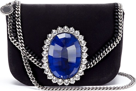 Stella McCartney 'Falabella' mini jewelled brooch velvet chain bag