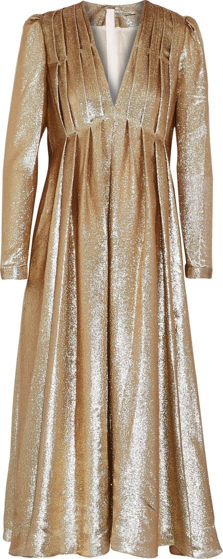 Adam Lippes Pleated silk-blend lam� midi dress