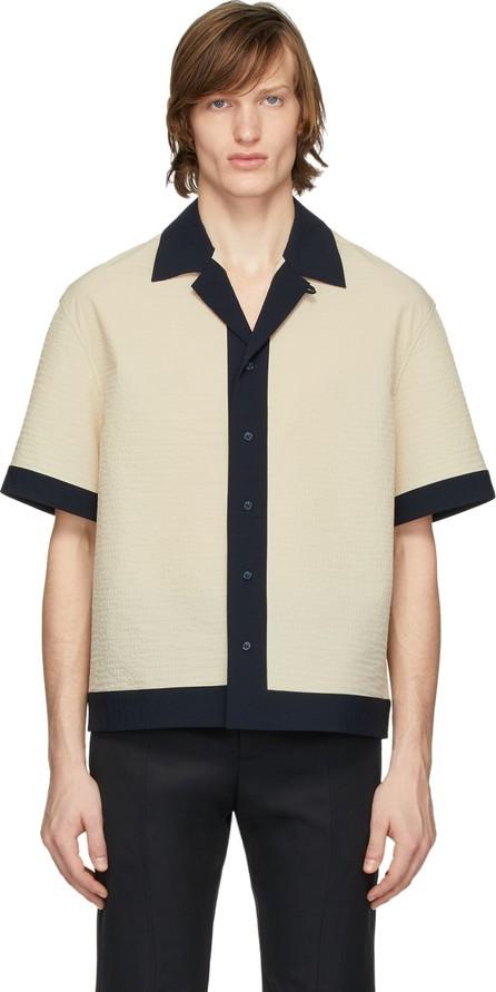 Deveaux New York Beige & Navy Panelled Resort Shirt
