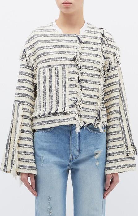 3.1 Phillip Lim Patch pocket fringe stripe bouclé cropped jacket