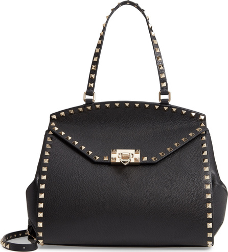 Valentino Rockstud Leather Top Handle Bag
