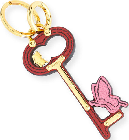 Prada Butterfly Key Bag Charm, Red/Pink (Fuoco/Begonia)