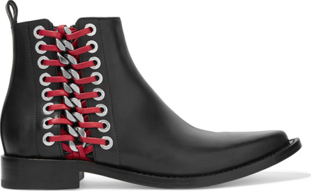 Alexander McQueen Lace-up embellished leather ankle boots