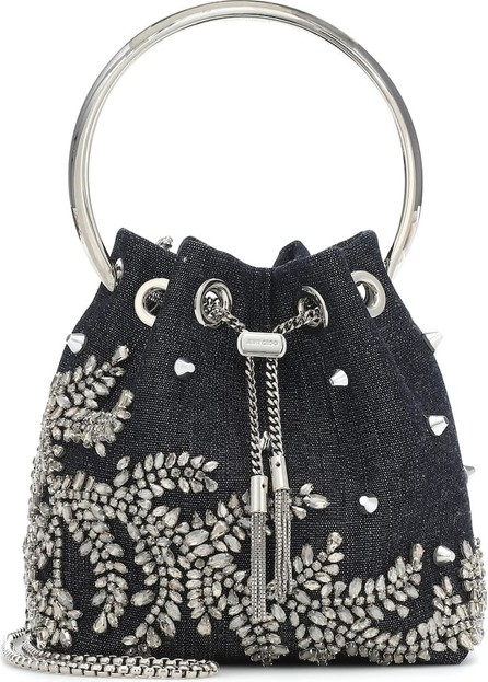 Jimmy Choo Bon Bon embellished denim bucket bag