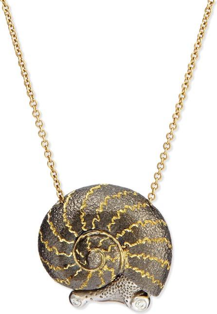 Alex Soldier Snail Pendant Necklace with Diamonds