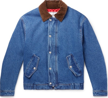 AMI Corduroy-Trimmed Denim Jacket