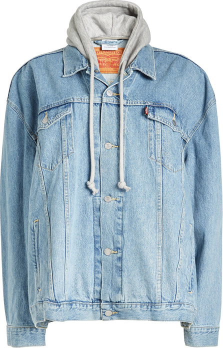 Oversized Denim Jacket with Jersey Hood