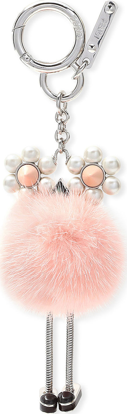 Fendi Chick Pompom Mink with Pearl Eye Bag Charm