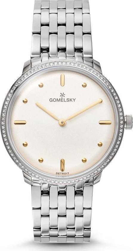 Gomelsky 36mm Audry Silver Opaline Bracelet Watch w/Diamonds