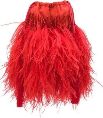 Attico Ostrich Feather Tassel Pouch