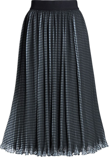 Alice + Olivia Mikaela checked plissé-chiffon midi skirt