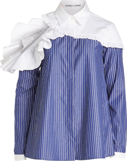 Sandy Liang Cotton Shirt with Ruffle Trims and Cut-Out Back