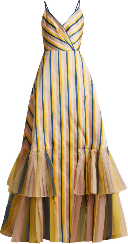 V-neck striped gown