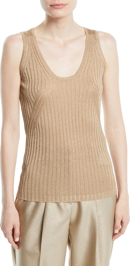 Emporio Armani Scoop-Neck Metallic Wide-Ribbed Knit Tank