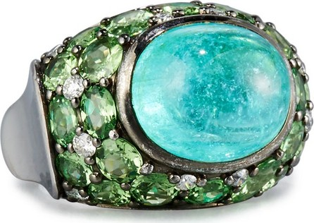 Alexander Laut 18K White Gold Paraiba Ring with Tsavorites & Diamonds, Size 7