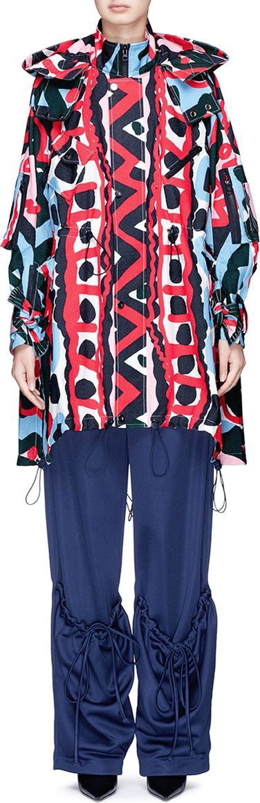 Angel Chen Tribal print crepe oversized windbreaker jacket