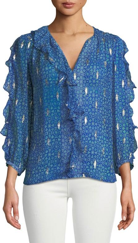 ba&sh Masha Silk 3/4-Sleeve Ruffle Top