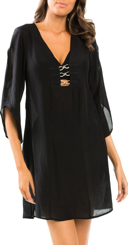 JETS by Jessika Allen Icon 3/4-Sleeve Coverup Kaftan