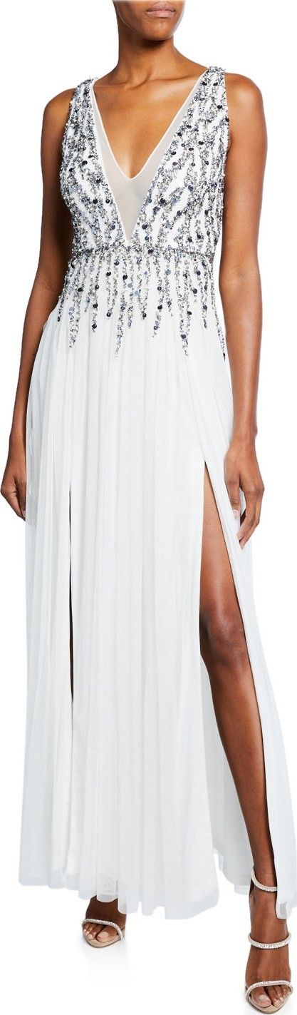 Aidan by Aidan Mattox Beaded Mesh Plunge V-Neck Sleeveless Gown