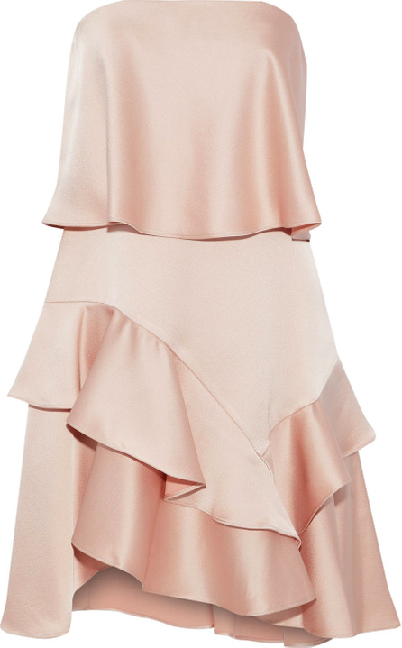 HALSTON HERITAGE Strapless ruffled satin and crepe mini dress
