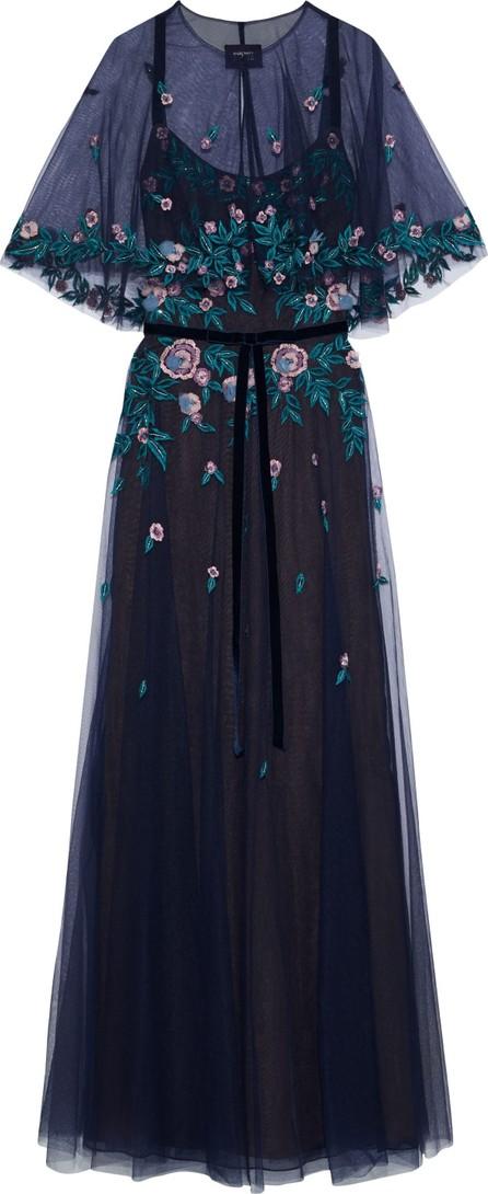 Marchesa Notte Velvet-trimmed layered embellished tulle gown
