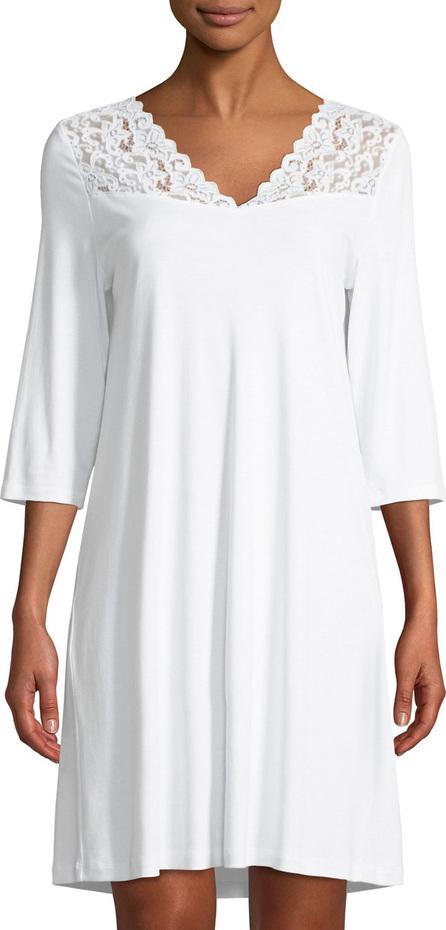 Hanro 3/4-Sleeve Lace-Trim Nightgown