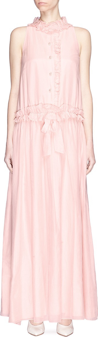 Drawstring ruffle voile maxi dress