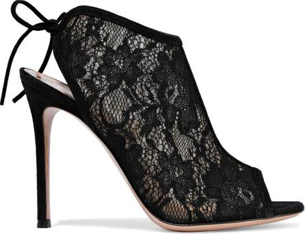 Gianvito Rossi Raquel suede-trimmed lace sandals