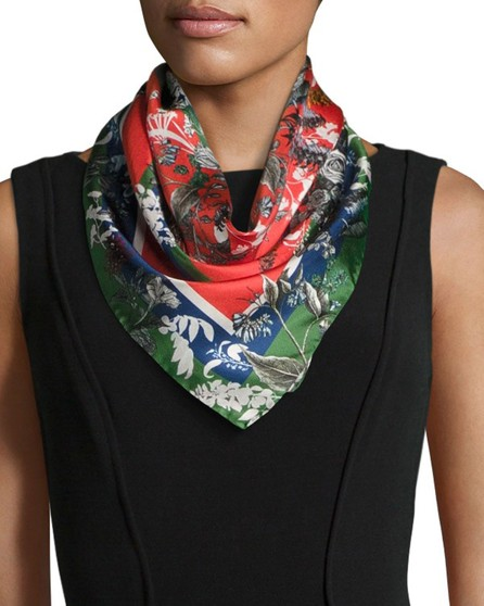 St. Piece Freya Floral Silk Twill Square Scarf, Green/Red