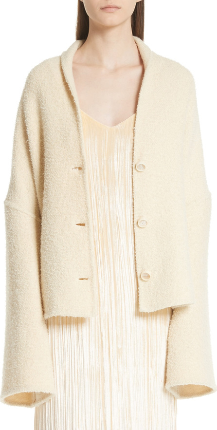 Rosetta Getty Convertible Wool Blend Bouclé Cape Coat