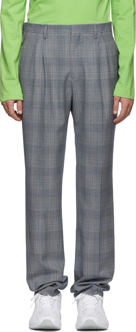 Calvin Klein 205W39NYC White & Navy Glen Plaid Trousers