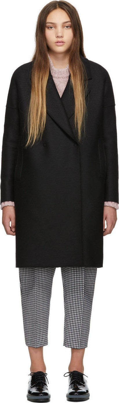 Harris Wharf London Black Oversized Fitted Coat