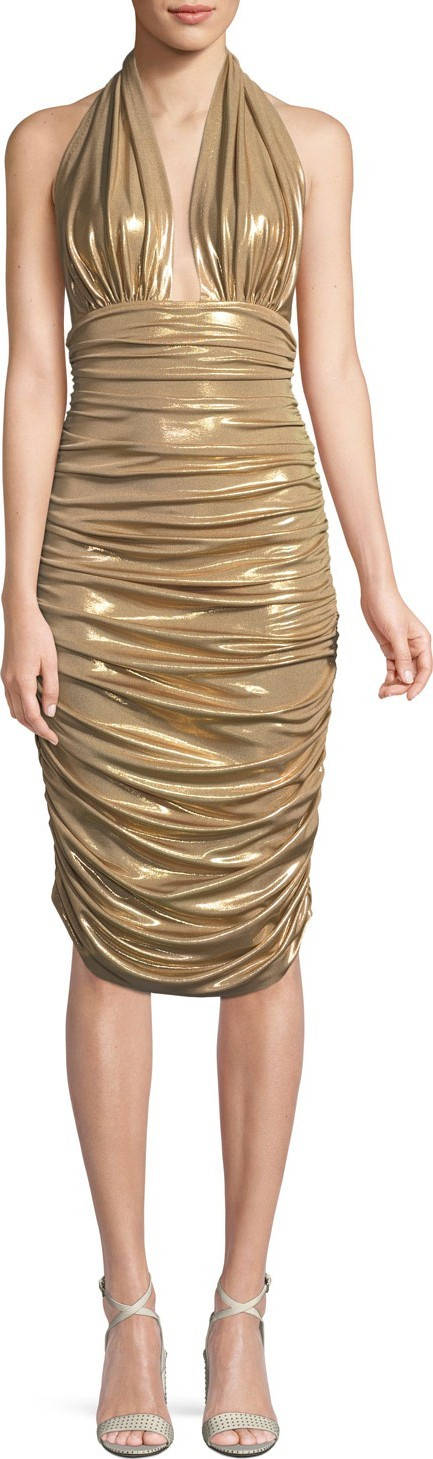 Norma Kamali Metallic Halter Cocktail Dress w/ Ruching