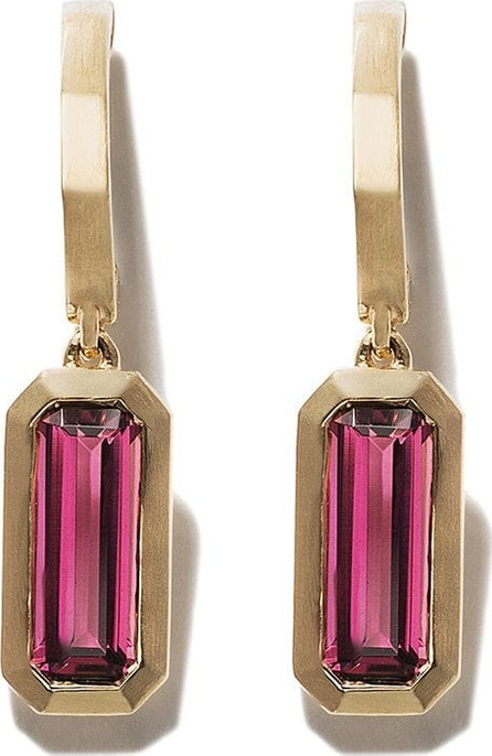 David Yurman 18kt yellow gold Novella hoop drop pink tourmaline earrings