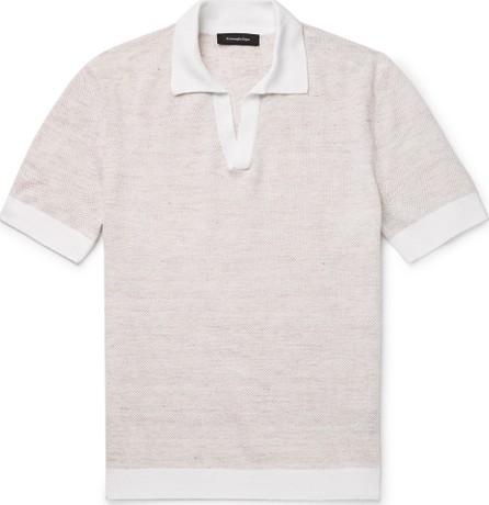 Ermenegildo Zegna Slim-Fit Waffle-Knit Mélange Linen and Cotton-Blend Polo Shirt