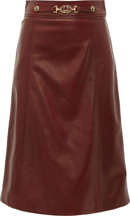 Gucci French Plongé leather A-Line skirt
