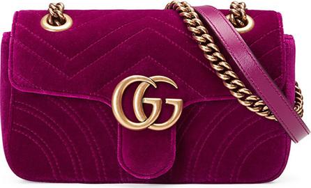Gucci GG Marmont Mini Quilted Velvet Crossbody Bag, Dark Fuchsia