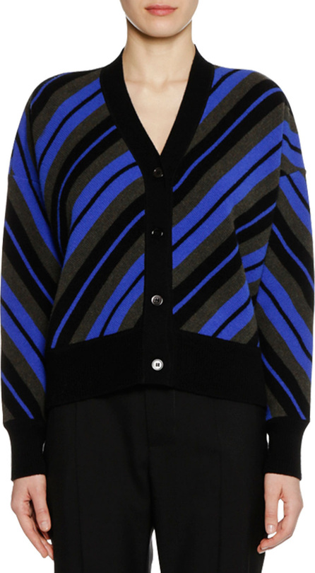 V-Neck Button-Front Striped Wool Cardigan