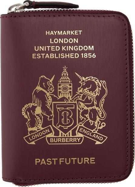 Burberry London England Burgundy Leather Passport Wallet