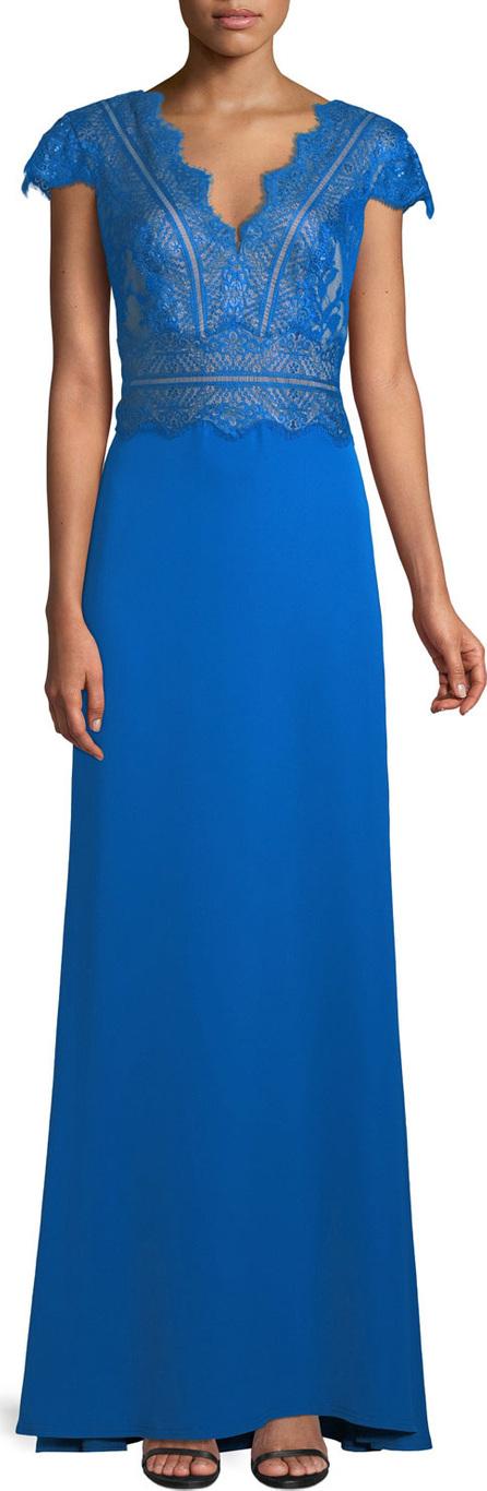 Tadashi Shoji Nolan Scalloped Lace-Bodice Gown