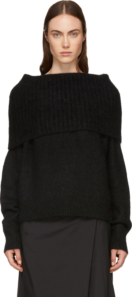 Acne Studios Black Wool & Mohair Off-the-Shoulder Sweater