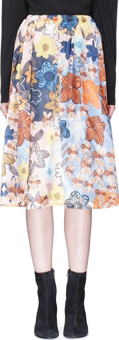 Acne Studios 'Sabina' retro floral print satin A-line skirt