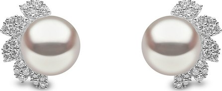 Yoko London 18k White Gold 8mm Pearl & Diamond Stud Earrings