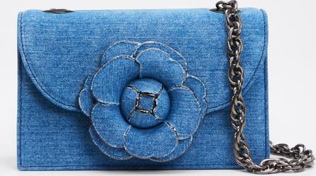 Oscar De La Renta Tro Flower Denim Shoulder Bag