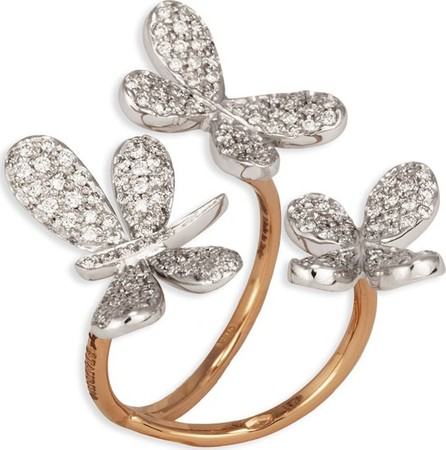 Staurino Fratelli Nature 18k Diamond Butterfly & Dragonfly Ring